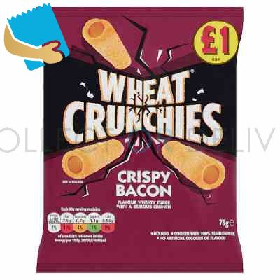 Wheat Crunchies Crispy Bacon Flavour Wheaty Tubes with a Serious Crunch 78g