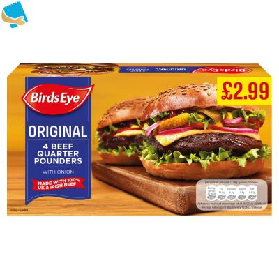 Birds Eye Original 4 Beef Quarter Pounders With Onion 454G