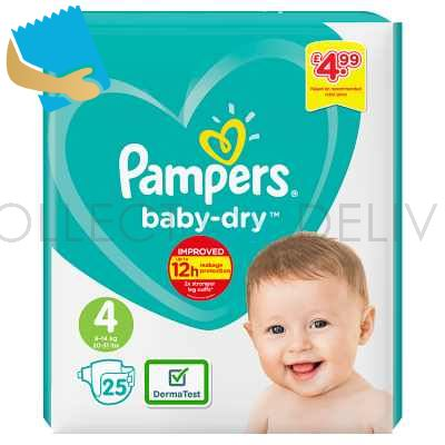 Pampers Baby-Dry Size 4, 25 Nappies, 9-14kg, Carry Pack