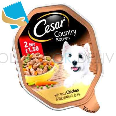 Cesar Country Kitchen Wet Dog Food Tray with Tasty Chicken & Vegetables in Gravy 150g