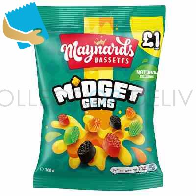 Maynards Bassetts Midget Gems Sweets Bag 160G