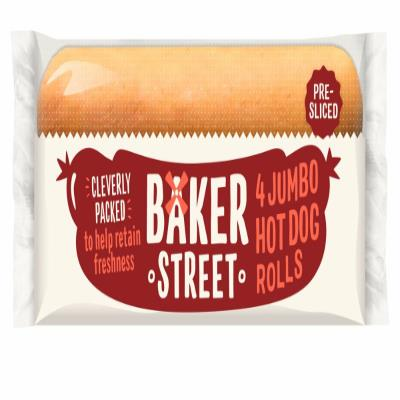 Baker Street Jumbo Hot Dog Rolls(Pre-Cut)