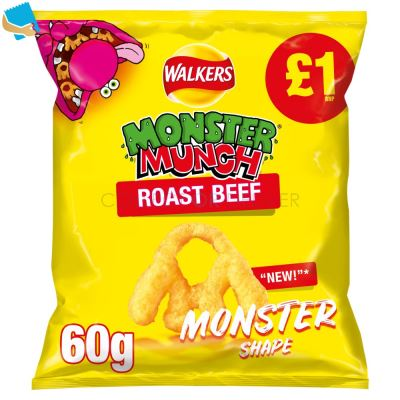 Walkers Monster Munch Roast Beef Snacks 60G
