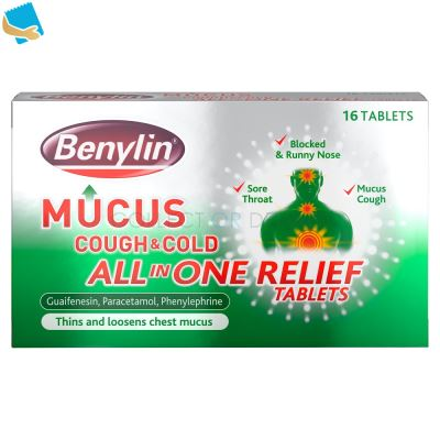 Benylin Mucus Cough & Cold All in One Relief Tablets 16 Tablets