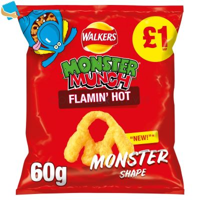 Walkers Monster Munch Flamin' Hot Snacks 60G