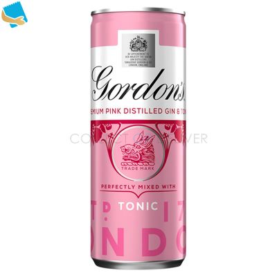 Gordon's Premium Pink Distilled Gin & Tonic 250Ml Ready To Drink Premix Can