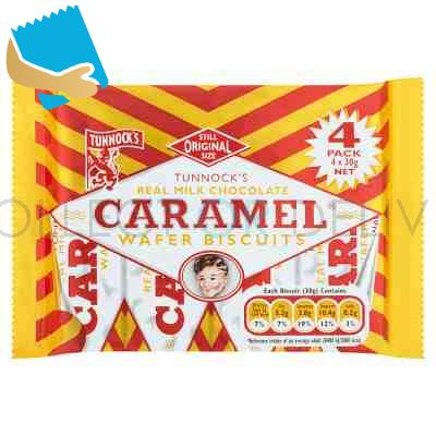 Tunnock's Real Milk Chocolate Caramel Wafer Biscuits 4 X 30G
