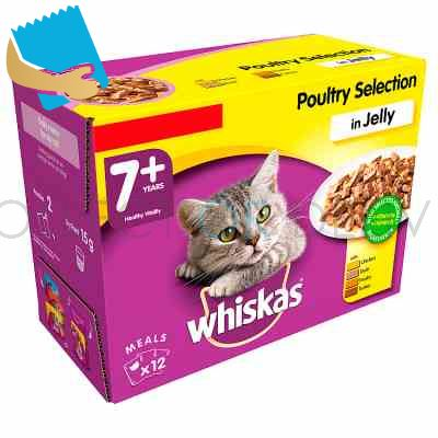 Whiskas Senior 7+ Wet Cat Food Pouches Poultry in Jelly 12 x 100g