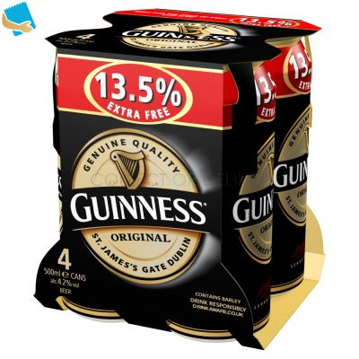Guinness Original Stout Beer 4 X 500Ml Can