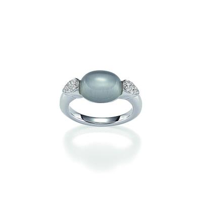 Viventy Silver CZ And Moonstone Ring