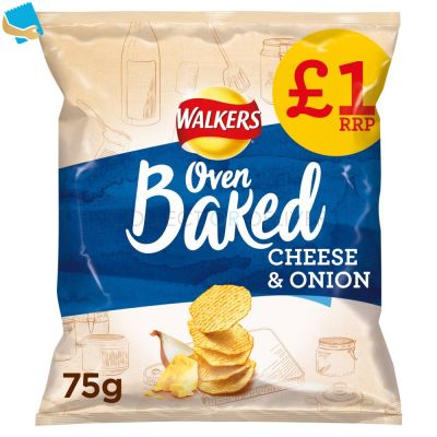 Walkers Oven Baked Cheese & Onion Snacks 75g