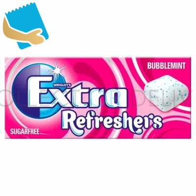 Extra Refreshers Bubblemint Sugar Free Chewing Gum Handy Box Cs