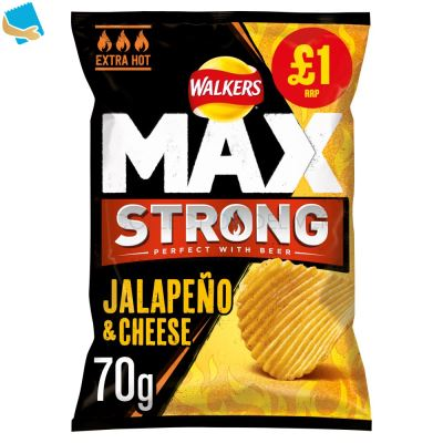 Walkers Max Strong Jalapeño & Cheese Crisps 70G