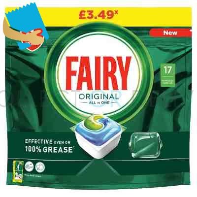 Fairy Original All In One Dishwasher Tablets, Regular, 17 Capsules