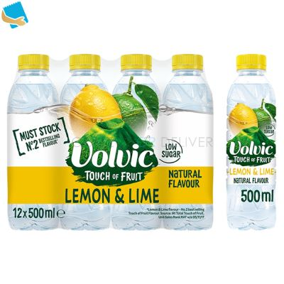 Volvic Touch Of Fruit Low Sugar Lemon & Lime Natural Flavoured Water 12 X 500Ml