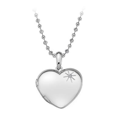 """Sterling Silver And White Topaz Gems, The Symbol Of Love And Affection Fall Together Beautifully In This Tender Necklace. The Necklace, Which Can Be Worn At 16"""" Or 18"""" Is Hand-Set With A Real Diamond."""