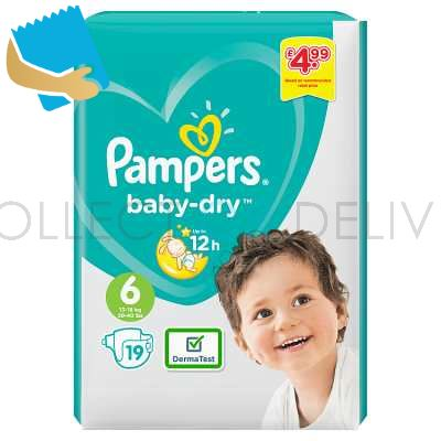 Pampers Baby-Dry Size 6, 19 Nappies, 13-18kg, Carry Pack
