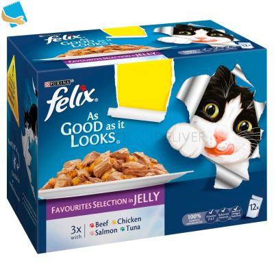 FELIX AS GOOD AS IT LOOKS Favourites Selection in Jelly Wet Cat Food 12x100g