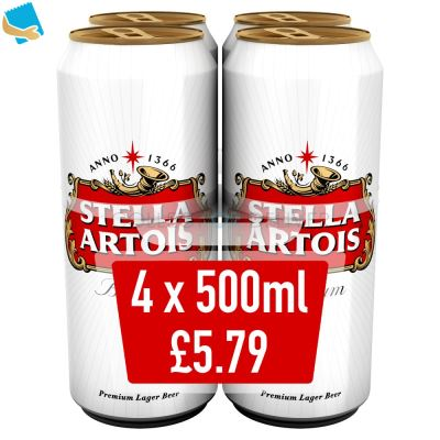 Stella Artois Lager Beer Cans 4 x 500ml
