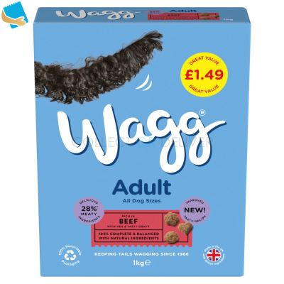 Wagg Adult Dog Complete Beef With Veg & Tasty Gravy 1Kg