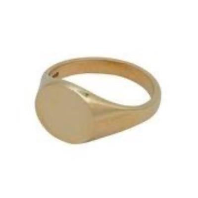 Reverse Oval Head Heavy Weight 9Ct Yellow Gold Signet Ring