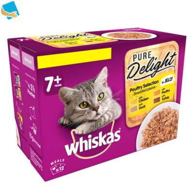 Whiskas Pure Delight Senior 7+ Wet Cat Food Pouches Poultry Collection in Jelly 12 x 85g