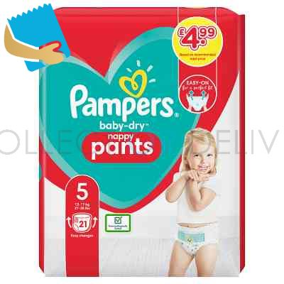 Pampers Baby-Dry Nappy Pants Size 5, 21 Nappies, 12Kg-17Kg, Carry Pack