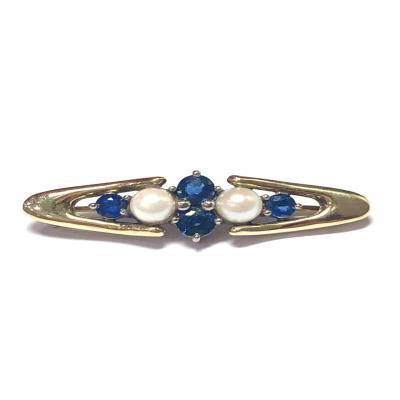 Sapphire And Culture Pearl Brooch