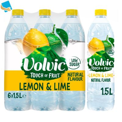 Volvic Touch of Fruit Low Sugar Lemon & Lime Natural Flavoured Water 6 x 1.5L