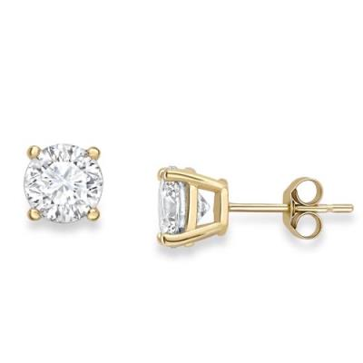 9Ct Yellow Gold Claw-Set Round Cubic Zirconia Stud Earrings