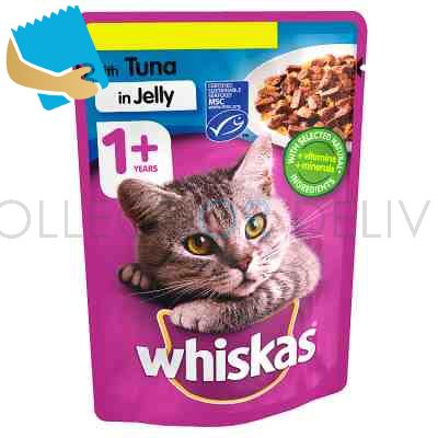 Whiskas Adult 1+ Wet Cat Food Pouches Tuna in Jelly 100g