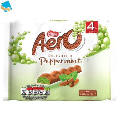 Aero Bubbly Peppermint Mint Chocolate Bar Multipack 27G 4 Pack