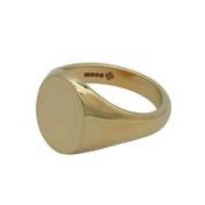 Oval Head Extra Weight 9Ct Yellow Gold Signet Ring