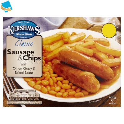 Kershaws Classic Sausage & Chips with Onion Gravy & Baked Beans 400g