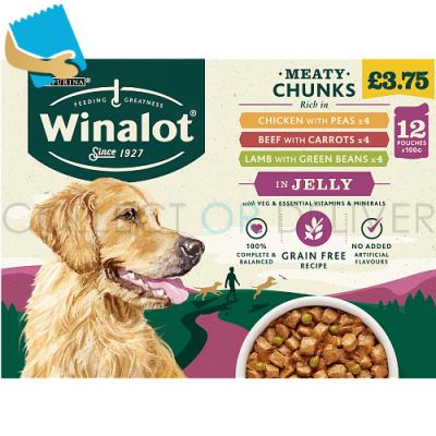 WINALOT Adult Dog Food Pouch Mixed in Jelly 12x100g