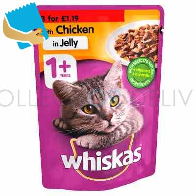 Whiskas Adult 1+ Wet Cat Food Pouches Chicken in Jelly 100g