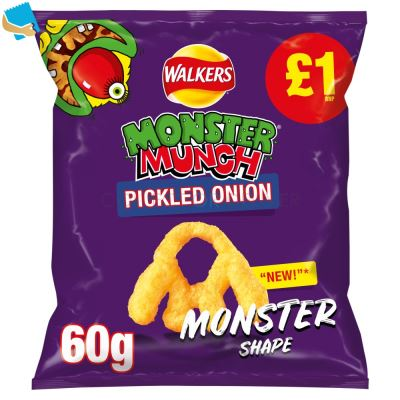 Walkers Monster Munch Pickled Onion Snacks 60G