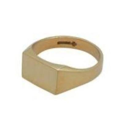 Rectangle Head 9Ct Yellow Gold Signet Ring