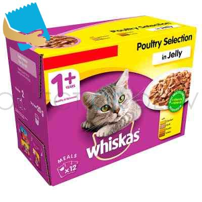 Whiskas Adult 1+ Wet Cat Food Pouches Poultry in Jelly 12 x 100g