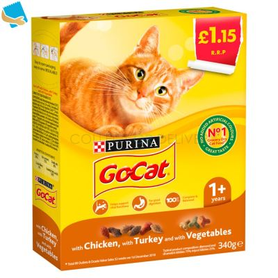 Go-Cat with Chicken, with Turkey and with Vegetables 1+ Year 340g