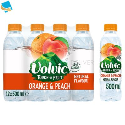 Volvic Touch of Fruit Low Sugar Orange & Peach Natural Flavoured Water 12 x 500ml