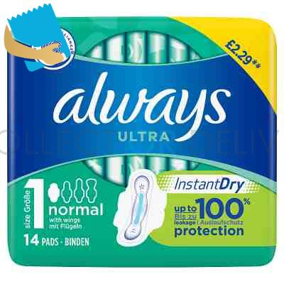Always Ultra Normal (Size 1) Sanitary Towels Wings 14 Pads