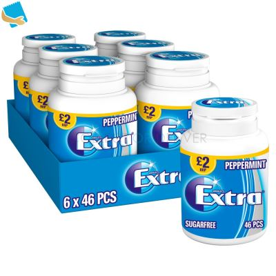 Extra Peppermint Chewing Gum Sugar Free Bottle 46 Pieces