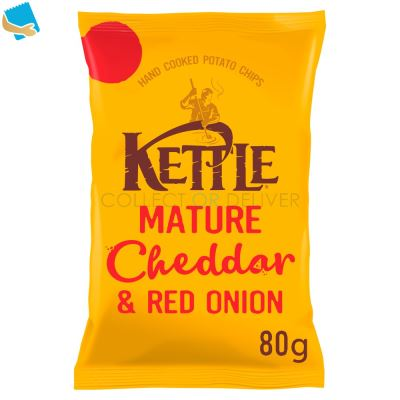 KETTLE Mature Cheddar & Red Onion British Potato Chips 80G
