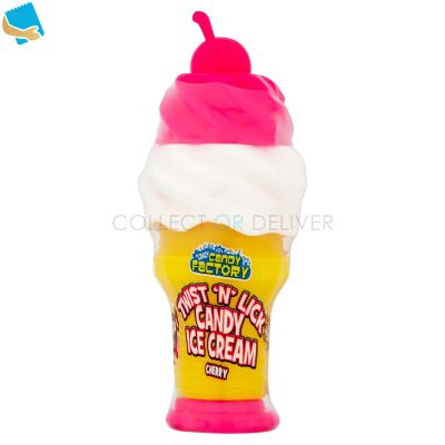 Crazy Candy Factory Twist 'N' Lick Candy Ice Cream Cherry, Blue Raspberry & Strawberry 3 X 25G