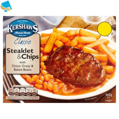 Kershaws Classic Steaklet & Chips with Onion Gravy and Baked Beans 360g